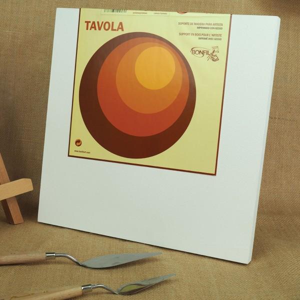 Tavola - Soporte de madera para artista imprimado con gesso - 20x20cm - Bastidor 3D