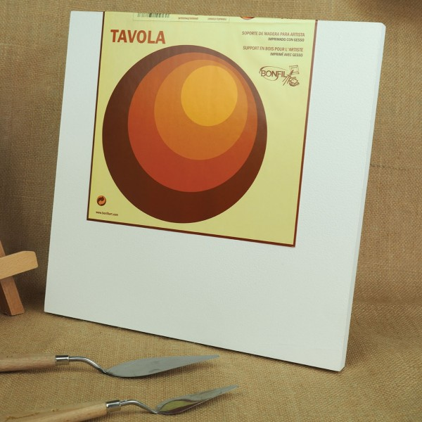 Tavola - Soporte de madera para artista imprimado con gesso - 30x30cm - Bastidor 3D 4cm