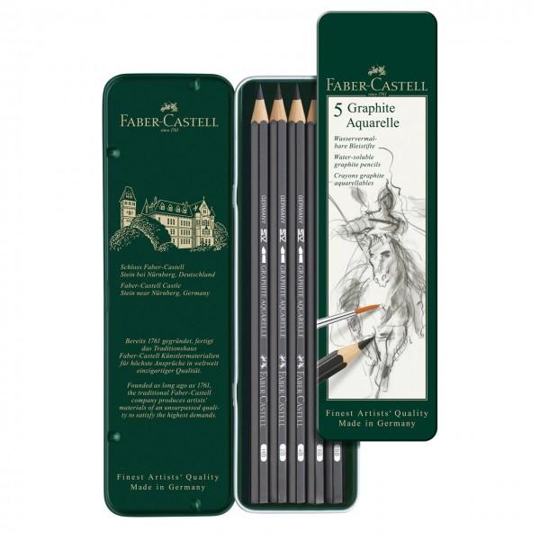 Faber Castell - Caja de 5 grafitos acuarelables