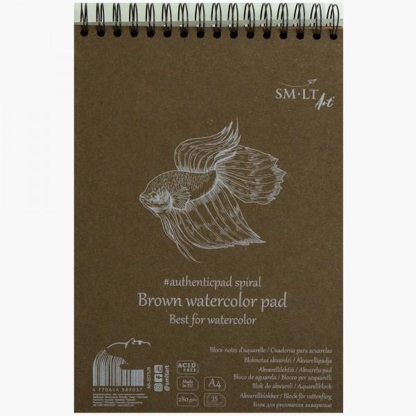 Smlt Art - Bloc para acuarela papel Marrón authenticpad - 280gr - A4 - 35 Hojas