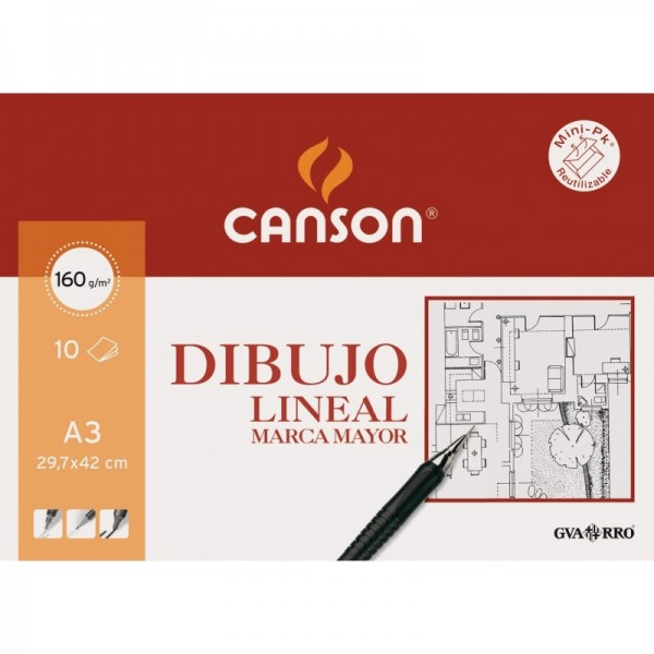 Canson - Papeles Guarro Dibujo Lineal Marca Mayor - 160gr - A3 - 10 Hojas