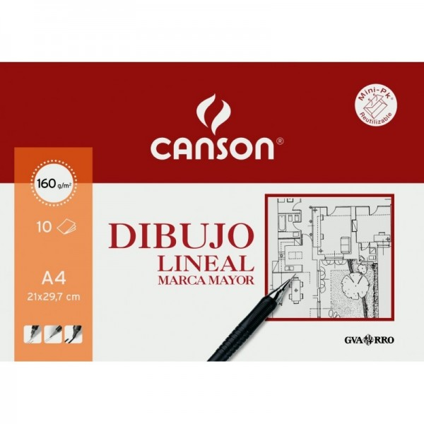 Canson - Papeles Guarro Dibujo Lineal Marca Mayor - 160gr - A4 - 10 Hojas