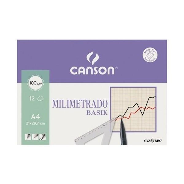 Canson - Papeles Milimetrados Basik - 100gr - A4 - 12 Hojas