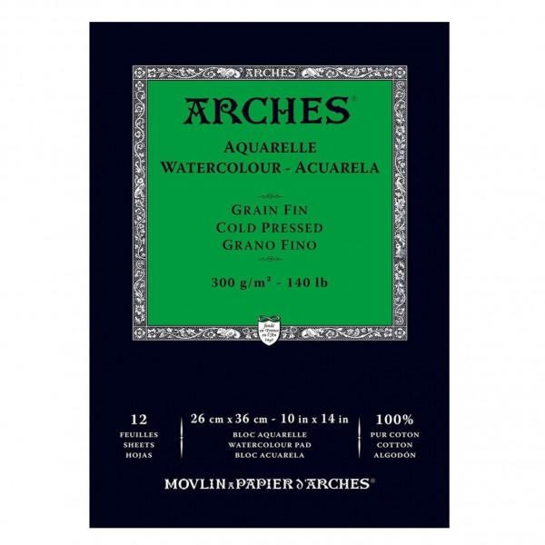 Arches - Bloc para Acuarela - 300gr- 26x36cm - 12 Hojas - 100% Algodón - Grano Fino