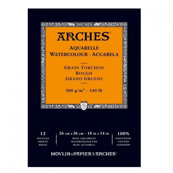 Arches - Bloc para Acuarela - 300gr- 26x36cm - 12 Hojas - 100% Algodón - Grano Grueso