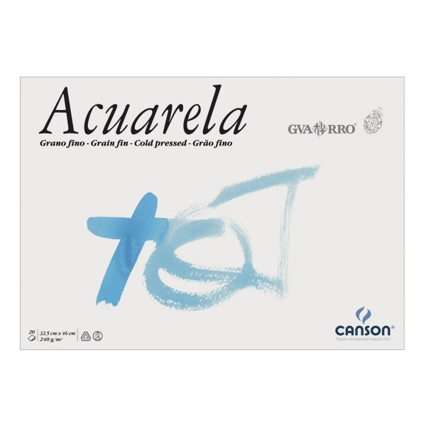 Canson - Bloc para Acuarela Guarro - 240gr- 32.5x46cm- 20 Hojas - Grano Grueso