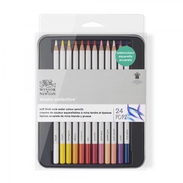 Winsor & Newton - Caja de Lápices - Lápices de acuarela - 24 lápices