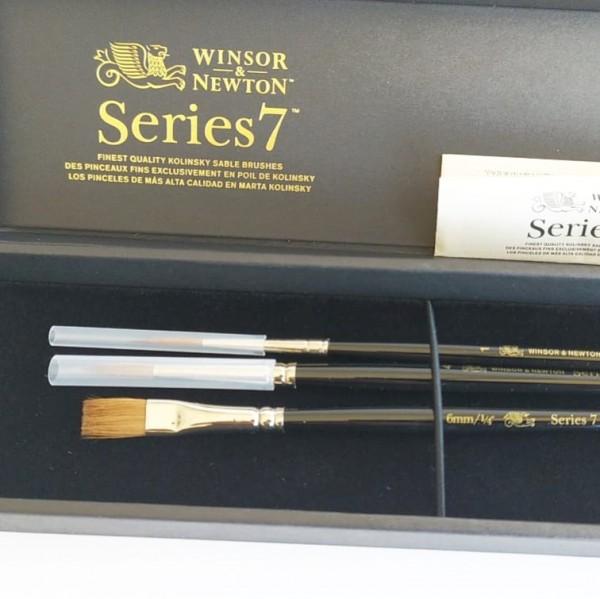 "Winsor & Newton Pinceles Serie 7 - 2 Redondos y 1 Plano -  6mm 1/4""  - 4 - 1"