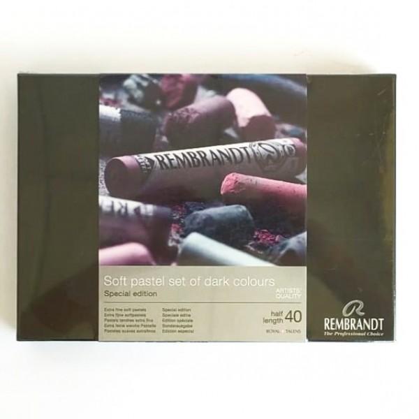 Rembrandt - Caja de Soft Pasteles colores oscuros -  40 barras medias
