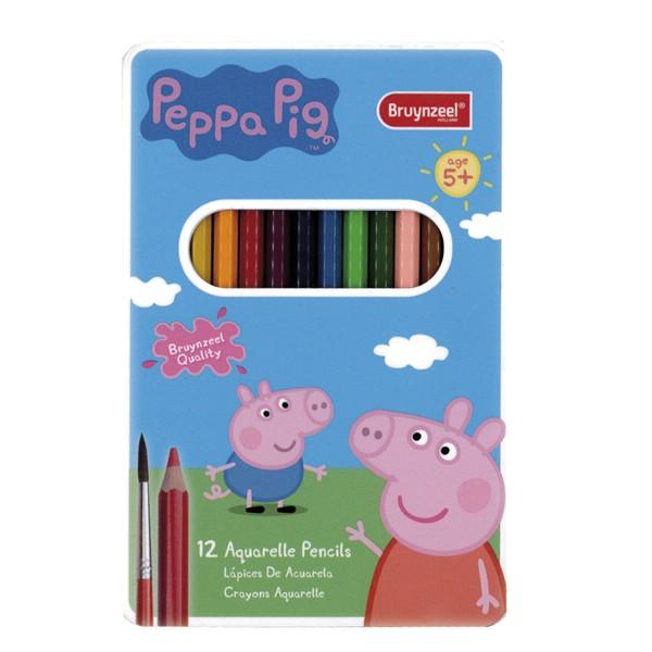 Bruynzel - Set de doce lápices acuarelables + Pincel - Peppa Pig