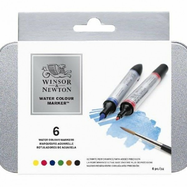 Winsor & Newton - Caja de 6 Rotuladores - Colores Esenciales - Acuarelables