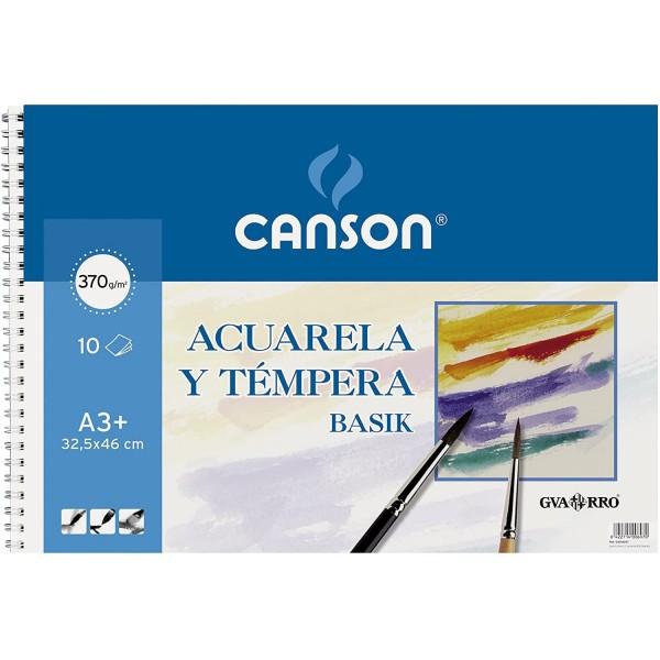 Canson - Bloc para Acuarela y Témpera Basik - 370gr - A3 - 10 Hojas