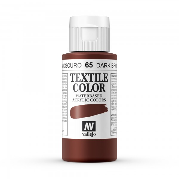 Pintura Textil Color Vallejo Número 65 - Color: Marrón Oscuro - 60ml