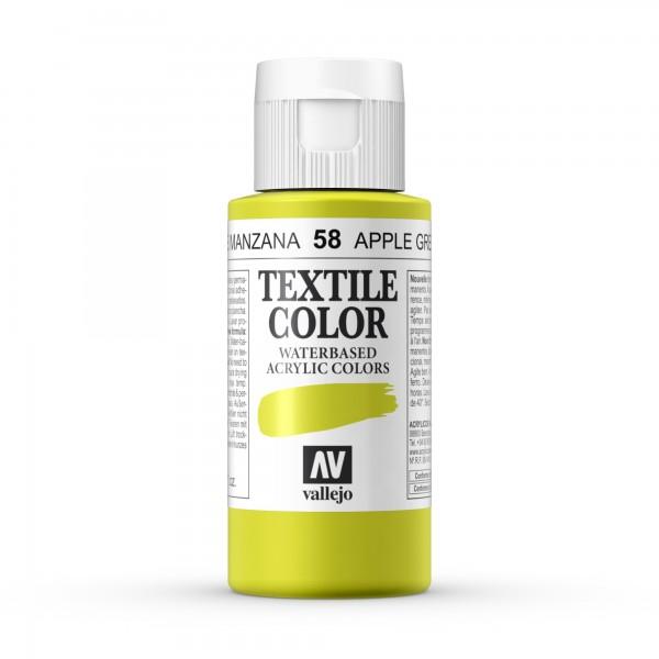 Pintura Textil Color Vallejo Número 58 - Color: Verde Manzana - 60ml