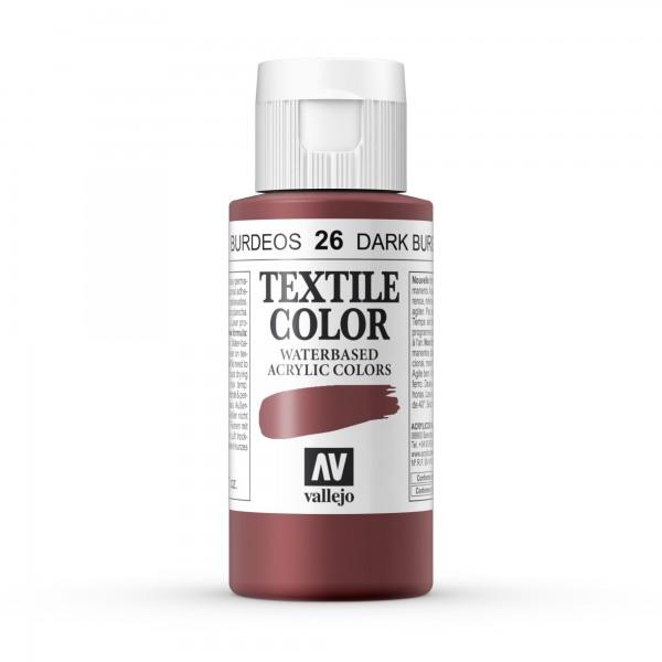 Pintura Textil Color Vallejo Número 26 - Color: Burdeos - 60ml
