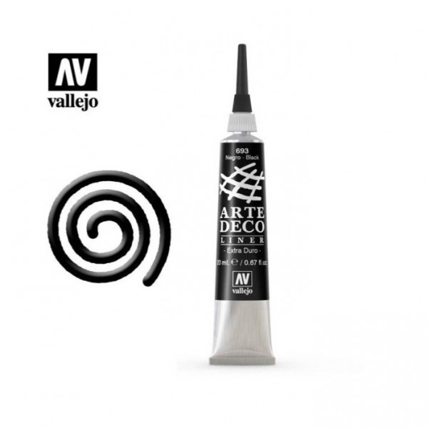 Vallejo - Pintura Arte Deco Liner - Pintura de relieve - 20 ml - nº 693 - Color Negro